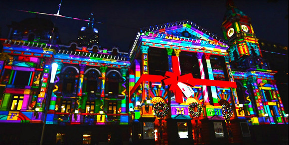 melbourne town hall christmas projection